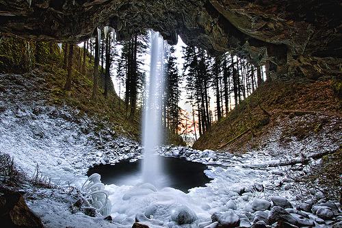 Icy Waterfall, Columbia River Gorge, Oregon