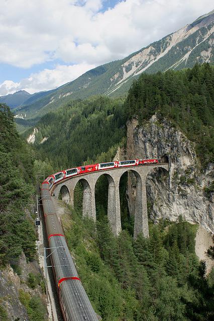Glacier Express on Landwasser Viaduct, Switzerland