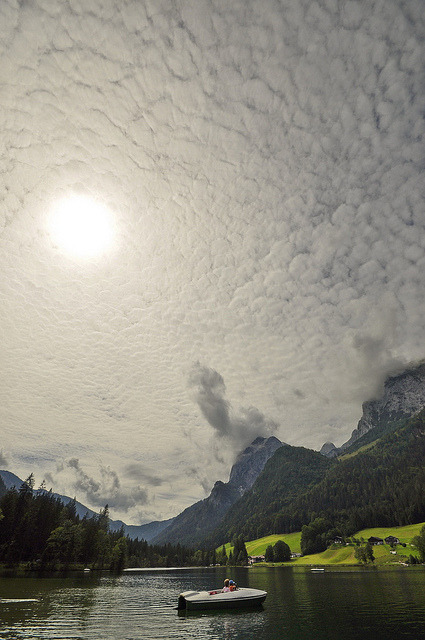 Cloudy sky above Hintersee, Bavaria, Germany