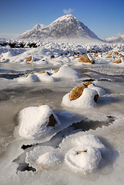 Frozen River Etive in Rannoch Moor, Highlands, Scotland