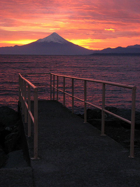 Jetty and Volcan Osorno at dawn in Puerto Varas, Chile