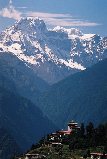 Gasa Dzong Monastery in the mighty Himalayas of northern Bhutan