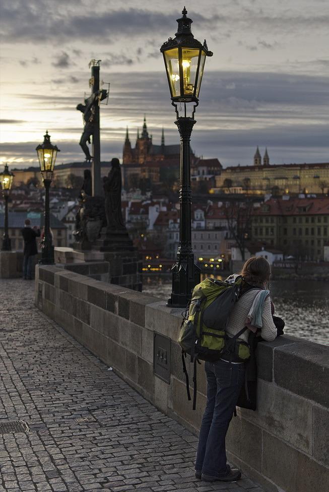 Lonely tourist in Prague, Czech Republic