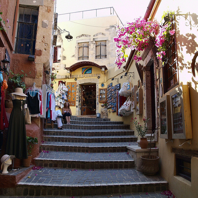 Local shops on the streets of Chania, Crete Island, Greece