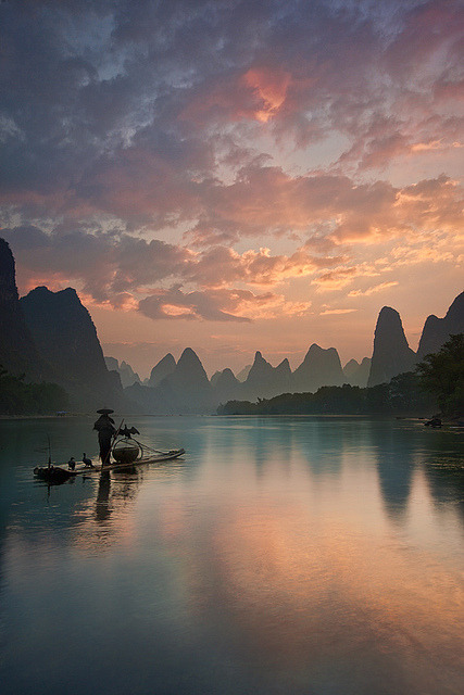 Li River sunrise, Guangxi, China