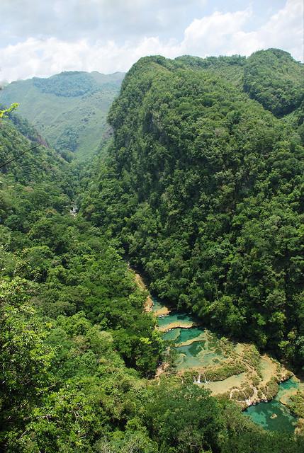 Overlooking the beautiful water pools of Semuc Champey in Guatemala