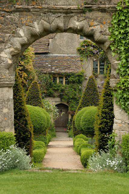 The house gardens at Malmesbury Abbey in Wiltshire, England