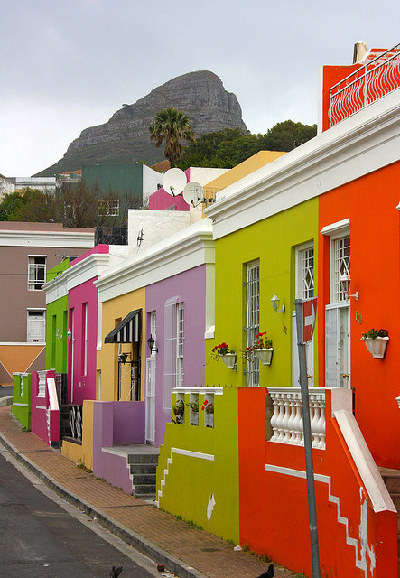 Colorful houses of Bo-Kaap district, Cape Town, South Africa