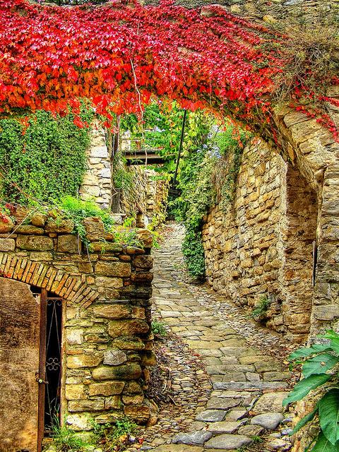Medieval alleys of Bussana Vecchia in Liguria, Italy