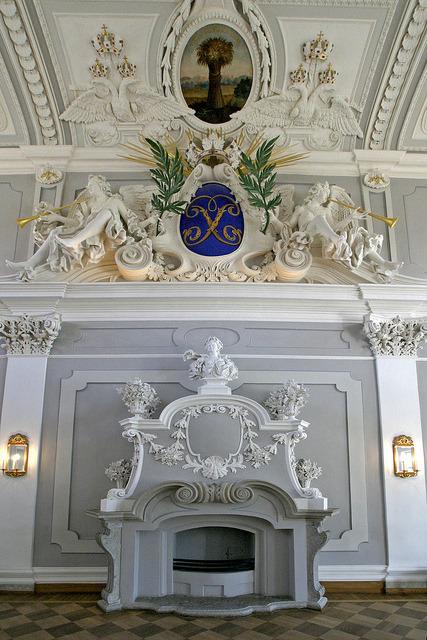 Fireplace inside Kadriorg Palace in Tallinn, Estonia