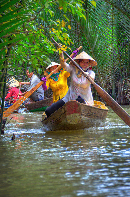 Traffic in the Mekong Delta, My Tho, Vietnam