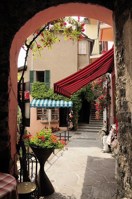 Street view in Gandria, Ticino Canton, Switzerland