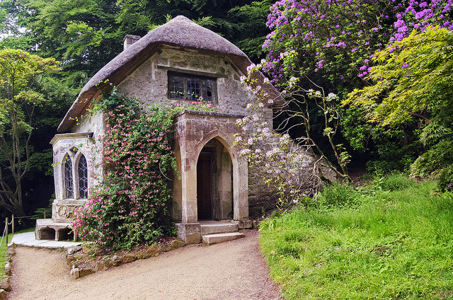 Cottage in the woods at Stourhead Estate Gardens in Wiltshire, England