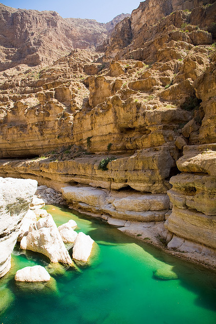 Emerald waters of Wadi Shab Oasis, Oman
