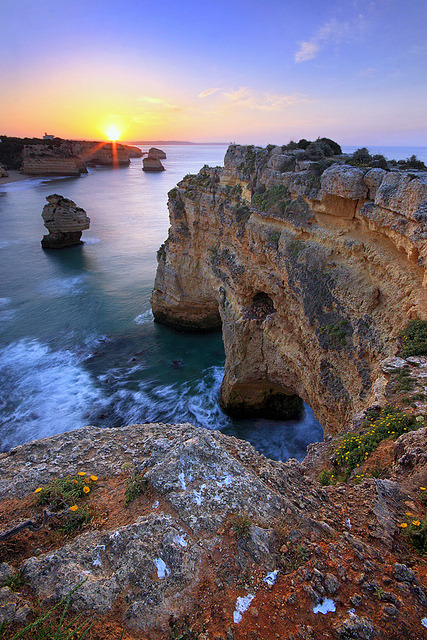 Sunrise at Praia da Marinha on Algarve Coast, Portugal