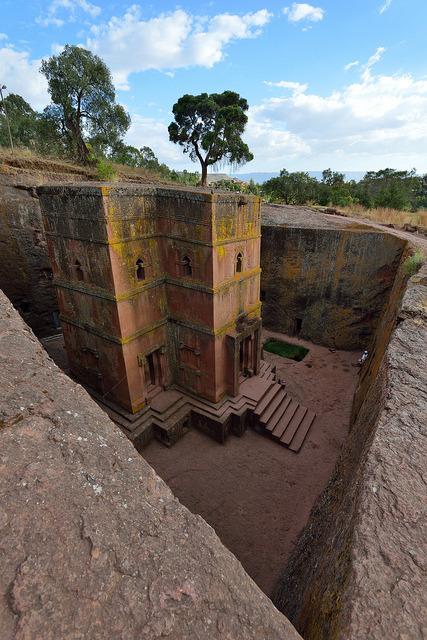 The rock-hewn church of St. George in Lalibela / Ethiopia