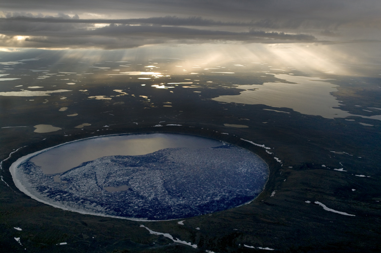 One of the most impressive impact craters on Earth, Pingualuit Crater in Ungava Peninsula / Canada