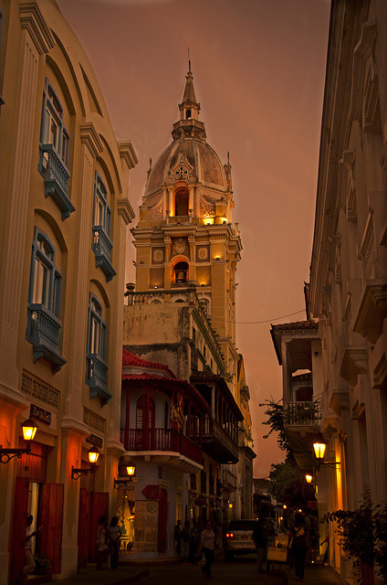 Streets of Cartagena de Indias at dusk, Colombia