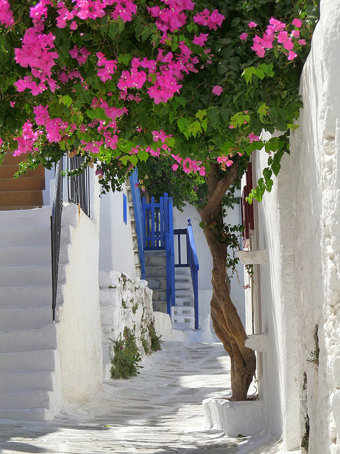 Charming white alleys of Mykonos, Cyclades / Greece