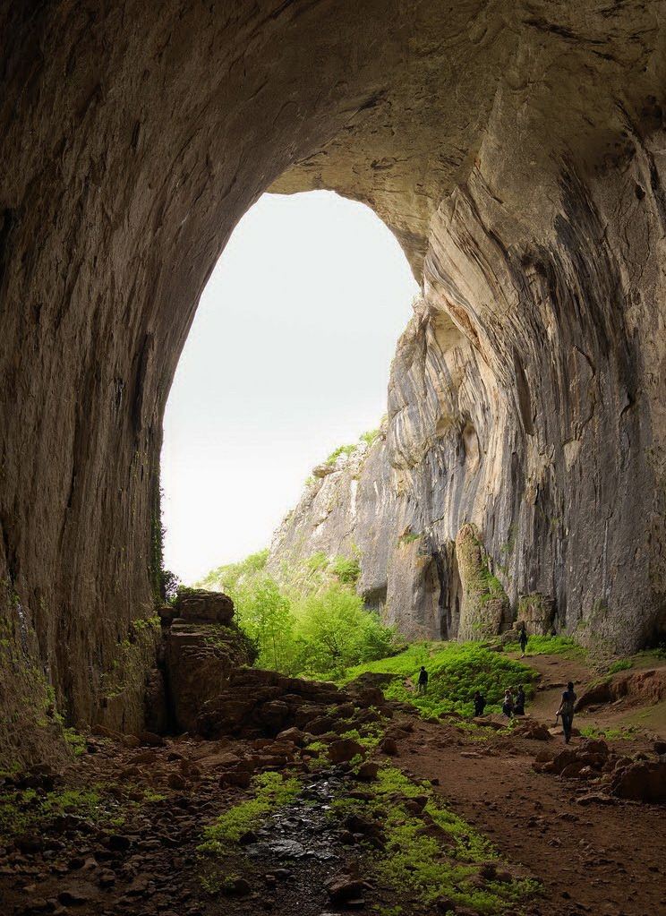 """Entrance to Prohodna Cave, near Karlukovo / Bulgaria ."""