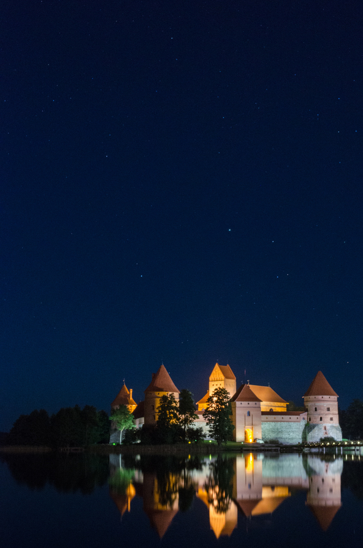 """ Night reflections at Trakai Island Castle / Lithuania ."""